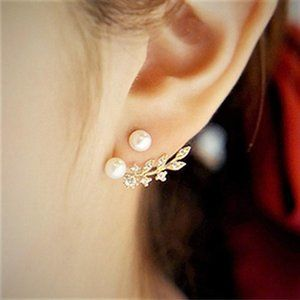 Falling Pearl Leaf Earring | Sterling Silver